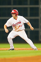 Casey Grayson #43 of the Houston Cougars takes his lead off of second base against the Tennessee Volunteers at Minute Maid Park on March 2, 2012 in Houston, Texas.  The Cougars defeated the Volunteers 7-4.  (Brian Westerholt/Four Seam Images)