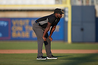 Umpire Tre Jester handles the calls on the bases during the game between the Charleston RiverDogs and the Kannapolis Cannon Ballers at Atrium Health Ballpark on July 4, 2021 in Kannapolis, North Carolina. (Brian Westerholt/Four Seam Images)