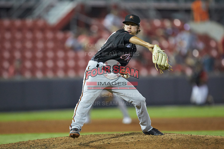 North Division pitcher Tyler Erwin (49) of the Frederick Keys in action during the 2018 Carolina League All-Star Classic at Five County Stadium on June 19, 2018 in Zebulon, North Carolina. The South All-Stars defeated the North All-Stars 7-6.  (Brian Westerholt/Four Seam Images)
