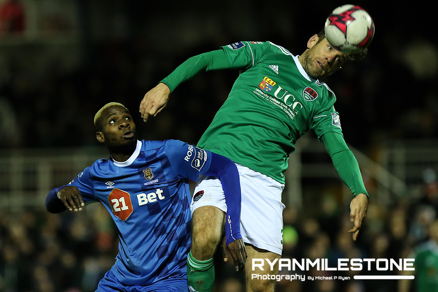 Ismahil Akinade of Waterford with Alan Bennett of Cork during the SSE Airtricity League Premier Division game between Cork City and Waterford FC on Friday 23rd February 2018 at Turners Cross. Photo By: Michael P Ryan