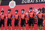 Bahrain Victorious at sign on before the start of Stage 6 of the 2021 UAE Tour running 165km from Deira Island to Palm Jumeirah, Dubai, UAE. 26th February 2021.  <br /> Picture: Eoin Clarke   Cyclefile<br /> <br /> All photos usage must carry mandatory copyright credit (© Cyclefile   Eoin Clarke)