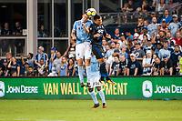 Kansas City, KS - Wednesday August 9, 2017: Matt Besler, Nick Lima during a Lamar Hunt U.S. Open Cup Semifinal match between Sporting Kansas City and the San Jose Earthquakes at Children's Mercy Park.