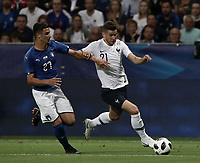International friendly football match France vs Italy, Allianz Riviera, Nice, France, June 1, 2018. <br /> France's Lucas Hernandez (r) in action with Italy's Rolando Mandragora (l) during the international friendly football match between France and Italy at the Allianz Riviera in Nice on June 1, 2018.<br /> UPDATE IMAGES PRESS/Isabella Bonotto