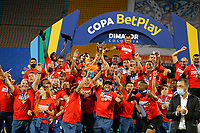 MEDELLÍN- COLOMBIA, 11-02-2021: Independiente Medellín celebra al ganar la Copa Betplay 2020 al vencer al Deportes Tolima.Independiente Medellín y Deportes Tolima en partido por la final de la Copa BetPlay DIMAYOR 2020 jugado en el estadio Atanasio Girardot de la ciudad de Medellín  / Independiente Medellín celebrates by winning the 2020 Betplay Cup by beating Deportes Tolima.Independiente Medelllin and Deportes Tolima in match for the final as part of BetPlay DIMAYOR Cup 2020 played at Atanasio Girardot stadium in Medellin. Photo: VizzorImage /  Donaldo Zuluaga / Contribuidor