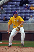 East Carolina University Pirates pitcher Tanner Merritt #11 pitching during a game against the Stony Brook Seawolves  at Clark-LeClair Stadium on March 4, 2012 in Greenville, NC.  East Carolina defeated Stony Brook 4-3. (Robert Gurganus/Four Seam Images)