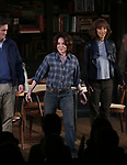 """Hugh Dancy, Stockard Channing and Megalyn Echikunwoke during the Opening Night Curtain Call Bows for the Roundabout Theatre Company production of """"Apologia"""" on October 16, 2018 at the Laura Pels Theatre in New York City."""