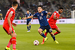Doan Ritsu of Japan (L) fights for the ball with Raed Saleh of Oman (R) during the AFC Asian Cup UAE 2019 Group F match between Oman (OMA) and Japan (JPN) at Zayed Sports City Stadium on 13 January 2019 in Abu Dhabi, United Arab Emirates. Photo by Marcio Rodrigo Machado / Power Sport Images
