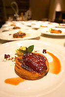 The desert: a pie or tartelette with candied quince coing fruit caramel sauce and icecream The Dolly Irigoyen - famous chef and TV presenter - private restaurant, Buenos Aires Argentina, South America Espacio Dolli