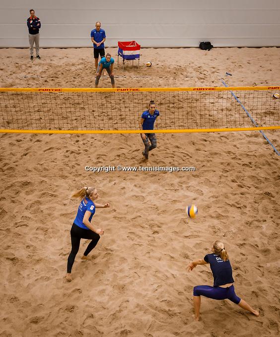 The Hague, The Netherlands, Februari 6, 2020,    Sportcampus, FedCup  Netherlands -  Balarus, beach volleybal<br /> Photo: Tennisimages/Henk Koster