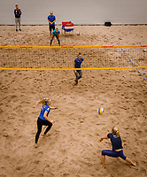 The Hague, The Netherlands, Februari 6, 2020,    Sportcampus, FedCup  Netherlands -  Balarus, beach volleybal<br /> Photo: Tennisimages/Henk Koster