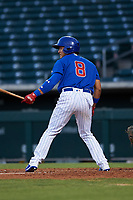 AZL Cubs 1 Henderson Perez (8) at bat during an Arizona League game against the AZL Athletics Gold at Sloan Park on June 20, 2019 in Mesa, Arizona. AZL Athletics Gold defeated AZL Cubs 1 21-3. (Zachary Lucy/Four Seam Images)