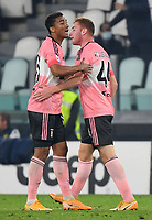 Calcio, Serie A: Juventus - Hellas Verona, Turin, Allianz Stadium, October 25, 2020.<br /> Juventus' Dejan Kulusevsky (r) celebrates after scoring with his teammate Danilo (l) during the Italian Serie A football match between Juventus and Hellas Verona at the Allianz stadium in Turin, October 25,,2020.<br /> UPDATE IMAGES PRESS/Isabella Bonotto