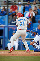 Clearwater Threshers Damek Tomscha (21) at bat during a game against the Dunedin Blue Jays on April 8, 2017 at Florida Auto Exchange Stadium in Dunedin, Florida.  Dunedin defeated Clearwater 12-6.  (Mike Janes/Four Seam Images)