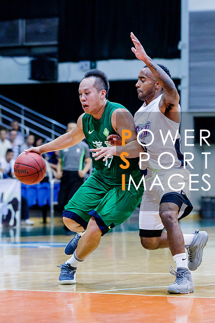 Chow Ka Kui #17 of Tycoon Basketball Team goes to the basket against the HKPA during the Hong Kong Basketball League game between HKPA and Tycoon at Southorn Stadium on June 22, 2018 in Hong Kong. Photo by Yu Chun Christopher Wong / Power Sport Images