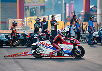Oct 11, 2019; Concord, NC, USA; NHRA pro stock motorcycle rider Hector Arana Sr during qualifying for the Carolina Nationals at zMax Dragway. Mandatory Credit: Mark J. Rebilas-USA TODAY Sports