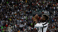 Calcio, Serie A: Juventus vs Napoli. Torino, Juventus Stadium, 23 maggio 2015. <br /> Juventus' Paul Pogba greets fans during celebrations for the victory of the Scudetto at the end of the Italian Serie A football match between Juventus and Napoli at Turin's Juventus Stadium, 23 May 2015.<br /> UPDATE IMAGES PRESS/Isabella Bonotto
