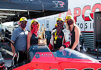 Aug 9, 2020; Clermont, Indiana, USA; NHRA top fuel driver Steve Torrence celebrates with family after winning the Indy Nationals at Lucas Oil Raceway. Mandatory Credit: Mark J. Rebilas-USA TODAY Sports