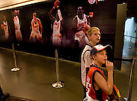 Young fans admire the backcourt area during an NBA basketball game Time Warner Cable Arena in Charlotte, NC.