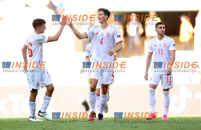 SEVILLE, SPAIN - JUNE 23: Pau Torres of Spain celebrates their side's fifth goal, an own goal by Juraj Kucka of Slovakia (not pictured) during the UEFA Euro 2020 Championship Group E match between Slovakia and Spain at Estadio La Cartuja on June 23, 2021 in Seville, Spain. (Photo by Fran Santiago - UEFA/UEFA via Getty Images)<br /> Photo Uefa/Insidefoto ITA ONLY