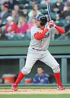 First baseman Kelly Dugan (32) of the Lakewood BlueClaws in a game against the Greenville Drive on April 6, 2012, at Fluor Field at the West End in Greenville, South Carolina. (Tom Priddy/Four Seam Images)