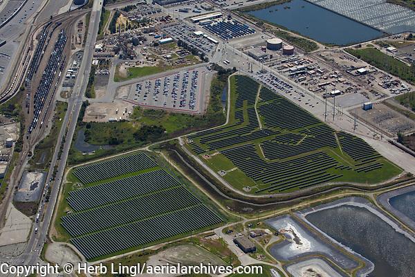 aerial photograph of Solar One 10.5 megawatt solar farm, Richmond, Contra Costa County, California