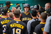 Indianapolis Indians catcher Ryan Lavarnway (23) gets congratulated in the dugout following a home run during an International League game against the Buffalo Bisons on July 28, 2018 at Victory Field in Indianapolis, Indiana. Indianapolis defeated Buffalo 6-4. (Brad Krause/Four Seam Images)