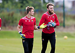 St Johnstone Training...  McDiarmid Park<br />Goalkeeper Zander Clark pictured running with Jack Wills during training ahead of Saturday's opening league game of the season at Ross County.<br />Picture by Graeme Hart.<br />Copyright Perthshire Picture Agency<br />Tel: 01738 623350  Mobile: 07990 594431
