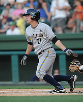 Catcher J.R. Murphy (21) of the Charleston RiverDogs, Class A affiliate of the New York Yankees, in a game against the Greenville Drive on May 27, 2010, at Fluor Field at the West End in Greenville, S.C. Photo by: Tom Priddy/Four Seam Images