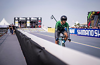 Ali Jawaid (PAK) is among the first wave of riders to take off at these World Championships <br /> <br /> Men Elite Individual Time Trial <br /> from Knokke-Heist to Bruges (43.3 km)<br /> <br /> UCI Road World Championships - Flanders Belgium 2021<br /> <br /> ©kramon