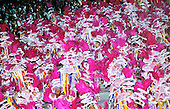Rio de Janeiro, Brazil. Carnival; Mangueira samba school procession with pink feathers and white parasols.