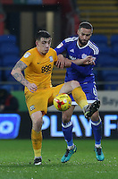 Jordan Hugill of Preston North End is challenged by Kenneth Zohore of Cardiff City during the Sky Bet Championship match between Cardiff City and Preston North End at Cardiff City Stadium, Wales, UK. Tuesday 31 January 2017