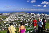 Many visitors to Oahu enjoy a panoramic view of Diamond Head, Waikiki, downtown Honolulu and southwest Oahu from Puu Ualakaa park and Wayside located off Tanatalus road above Manoa Valley, Oahu.