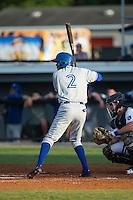 Edward Olivares (2) of the Bluefield Blue Jays at bat against the Burlington Royals at Burlington Athletic Stadium on June 28, 2016 in Burlington, North Carolina.  The Royals defeated the Blue Jays 4-0.  (Brian Westerholt/Four Seam Images)