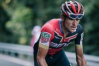 Greg Van Avermaet (BEL/BMC) up the final climb of the day (in Spain!): the Col du Portillon (Cat1/1292m)<br /> <br /> Stage 16: Carcassonne > Bagnères-de-Luchon (218km)<br /> <br /> 105th Tour de France 2018<br /> ©kramon