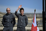 Ian Stannard (GBR) and Geraint Thomas (WAL) Team Sky on stage at the team presentation before the 116th edition of Paris-Roubaix 2018. 7th April 2018.<br /> Picture: ASO/Pauline Ballet | Cyclefile<br /> <br /> <br /> All photos usage must carry mandatory copyright credit (© Cyclefile | ASO/Pauline Ballet)