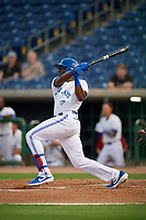 Dunedin Blue Jays right fielder Demi Orimoloye (6) during a Florida State League game against the Clearwater Threshers on April 4, 2019 at Spectrum Field in Clearwater, Florida.  Dunedin defeated Clearwater 11-1.  (Mike Janes/Four Seam Images)