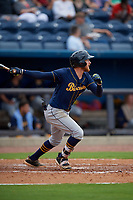 Montgomery Biscuits Dalton Kelly (9) hits a double during a Southern League game against the Biloxi Shuckers on May 8, 2019 at MGM Park in Biloxi, Mississippi.  Biloxi defeated Montgomery 4-2.  (Mike Janes/Four Seam Images)