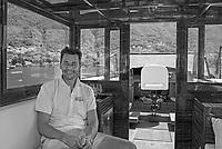 Lago di Como, Italia, Laglio, cantiere navale Ernesto Riva. Daniele Riva ottava generazione della famiglia Riva, maestro d'ascia