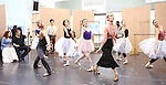 Tiler Peck and Rebecca Luker with cast during the Rehearsal for the Kennedy Center Production of 'Little Dancer - A New Musical' at The New 42nd Street Studios on October 6, 2014 in New York City.