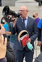 NEW YORK, NY- OCTOBER 12: Michael Kane speaks outside the Thurgood Marshall US Courthouse where a hearing for Kane versus de Blasio is taking place where teachers are suing against vaccine mandates stating that they are immoral and illegal in New York City on on October 12, 2021.  <br /> CAP/MPI/RMP<br /> ©RMP/MPI/Capital Pictures