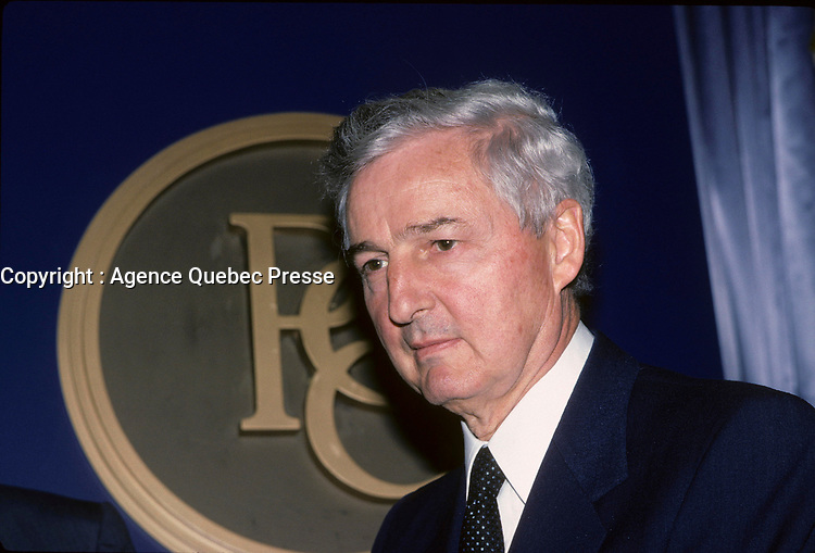 Montreal (QC) CANADA, 1988 File Photo -<br /> <br /> Paul Desmarais , Power Corporation<br /> <br /> <br /> <br /> <br /> Paul Desmarais is the son of a lawyer, Jean-Noel Desmarais, and LÈbÈa Laforest. He grew up in a prosperous family. He studied at the University of Ottawa where he obtained a B.A. in Commerce. When he finished university, he returned to Sudbury where, in 1951, he took control of a bus company. In 1959, he created the Transportation Management Corporation Limited; though this, he acquired Provincial Transport Ltd in 1960, and then obtained effective control of Gelco Entreprises Ltd in 1962. The following year, he bought the Imperial Life Assurance Company of Canada. Two years later, it was the turn of the Corporations des valeurs trans-Canada, his first conglomerate.<br /> <br /> In 1967, Trans-Canada created Les Journaux Trans-Canada LtÈe, a press company that acquired the great Montreal daily, La Presse. In 1968, Mr. Desmarais took control of the Power Corporation of Canada. Today, the Power Corporation consists of Gesca LtÈe, which publishes La Presse and other dailies and weeklies, and Power Financial Corporation, which owns the Great-West Life Assurance Company, London Life Assurance Company, Investors Group Inc. and Pargesa Holding S.A., an international holding company headquartered in Geneva.<br /> <br /> Paul Desmarais is Chairman of the Executive Committee of the Power Corporation of Canada. He is also Chairman of the Board and Deputy Director of Pargesa Holding S.A. (Switzerland). He is a director of the following companies: CLT-UFA (Luxembourg), the Power Financial Corporation, Power Broadcasting Inc.; Electrafina S.A. (Belgium), the London Assurance Group Inc., Group Investors Inc., London Life Assurance Company, Pargesa Holding S.A. (Switzerland), the Power Corporation of Canada, La Presse LtÈe, the Telegraph Group Limited (England) and Total Pina (France). He is also a member of the international advisory committee of the Barrick Gol