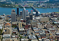aerial photograph of the downtown Louisville, Kentucky skyline with the Ohio river in the background