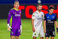 CARSON, CA - OCTOBER 14: Jonathan Klinsmann #33 GK and Perry Kitchen #2 of Los Angeles Galaxy Carlos during a game between San Jose Earthquakes and Los Angeles Galaxy at Dignity Heath Sports Park on October 14, 2020 in Carson, California.