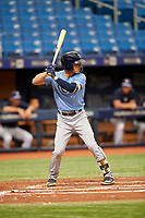 Tyler Frank (3) at bat during the Tampa Bay Rays Instructional League Intrasquad World Series game on October 3, 2018 at the Tropicana Field in St. Petersburg, Florida.  (Mike Janes/Four Seam Images)