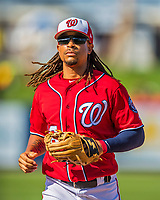 28 February 2017: Washington Nationals infielder Emmanuel Burriss in Spring Training action during the inaugural game against the Houston Astros at the Ballpark of the Palm Beaches in West Palm Beach, Florida. The Nationals defeated the Astros 4-3 in Grapefruit League play. Mandatory Credit: Ed Wolfstein Photo *** RAW (NEF) Image File Available ***