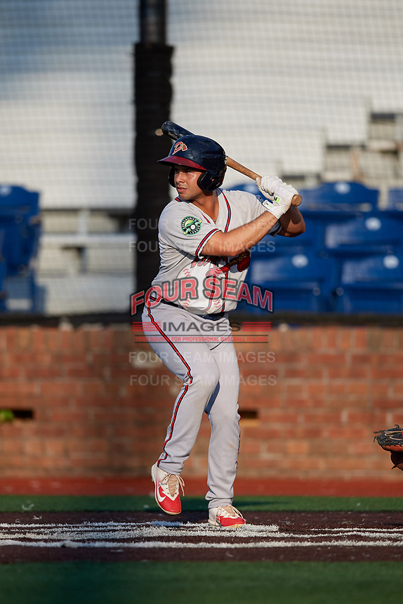 Danville Braves left fielder Carlos Baerga (2) at bat during a game against the Johnson City Cardinals on July 29, 2018 at TVA Credit Union Ballpark in Johnson City, Tennessee.  Johnson City defeated Danville 8-1.  (Mike Janes/Four Seam Images)