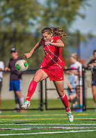 29 September 2013: Stony Brook University Seawolves Defender Christina Fluman, a Freshman from Pittsford, NY, in action against the University of Vermont Catamounts at Virtue Field in Burlington, Vermont. The Lady Seawolves defeated the Catamounts 2-1 in America East play. Mandatory Credit: Ed Wolfstein Photo *** RAW (NEF) Image File Available ***