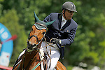 Peru's jockey Carlos Javier Merino with the horse Lorenza Te Quiero during 102 International Show Jumping Horse Riding, King's College Trophy. May, 20, 2012. (ALTERPHOTOS/Acero)