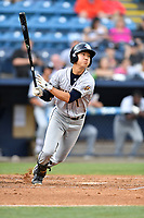 Charleston RiverDogs shortstop Hoy Jun Park (1) swings at a pitch during a game against the Asheville Tourists at McCormick Field on July 5, 2017 in Asheville, North Carolina. The RiverDogs defeated the Tourists 10-9. (Tony Farlow/Four Seam Images)