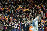 FC Barcelona's Leo Messi, Pedro Rodriguez, Andres Iniesta, Sergio Busquets and Jordi Alba celebrate goal in presence of Atletico de Madrid's Thibaut Courtois during La Liga match.December 16,2012. (ALTERPHOTOS/Acero)